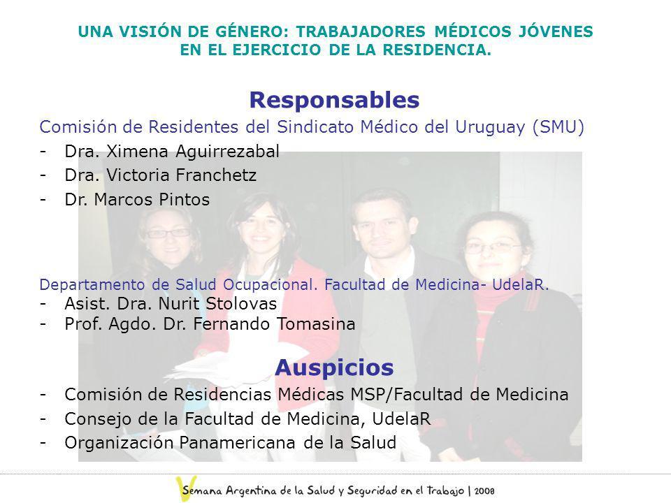 UNA VISIÓN DE GÉNERO: TRABAJADORES MÉDICOS JÓVENES EN EL EJERCICIO DE LA RESIDENCIA. Responsables Comisión de Residentes del Sindicato Médico del Urug