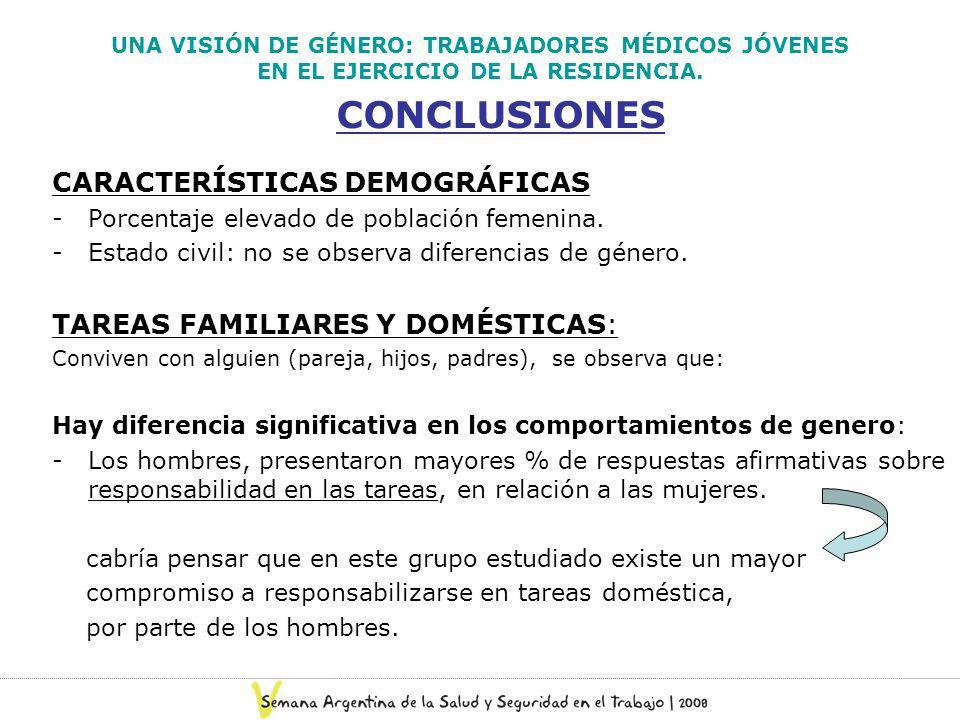UNA VISIÓN DE GÉNERO: TRABAJADORES MÉDICOS JÓVENES EN EL EJERCICIO DE LA RESIDENCIA. CONCLUSIONES CARACTERÍSTICAS DEMOGRÁFICAS -Porcentaje elevado de