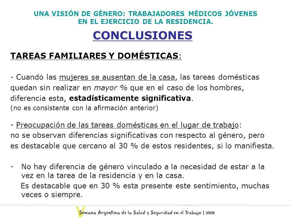 UNA VISIÓN DE GÉNERO: TRABAJADORES MÉDICOS JÓVENES EN EL EJERCICIO DE LA RESIDENCIA. CONCLUSIONES TAREAS FAMILIARES Y DOMÉSTICAS: - Cuando las mujeres