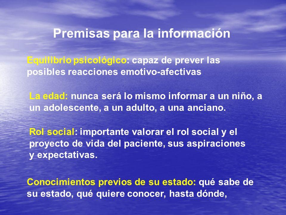 Premisas para la información Equilibrio psicológico: capaz de prever las posibles reacciones emotivo-afectivas La edad: nunca será lo mismo informar a