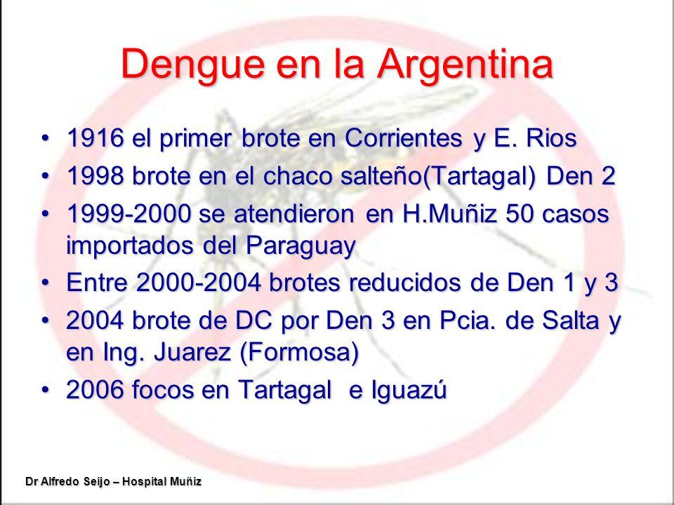 Dengue en la Argentina 1916 el primer brote en Corrientes y E. Rios1916 el primer brote en Corrientes y E. Rios 1998 brote en el chaco salteño(Tartaga