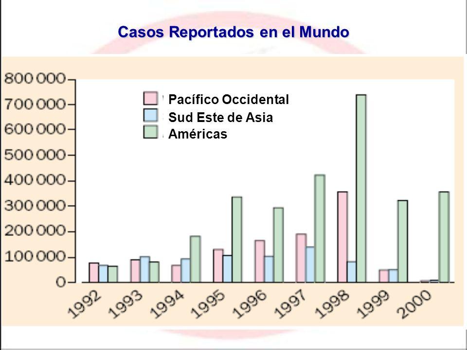 * Datos provisionales hasta 1999 Casos Reportados en el Mundo Sud Este de Asia Américas Pacífico Occidental