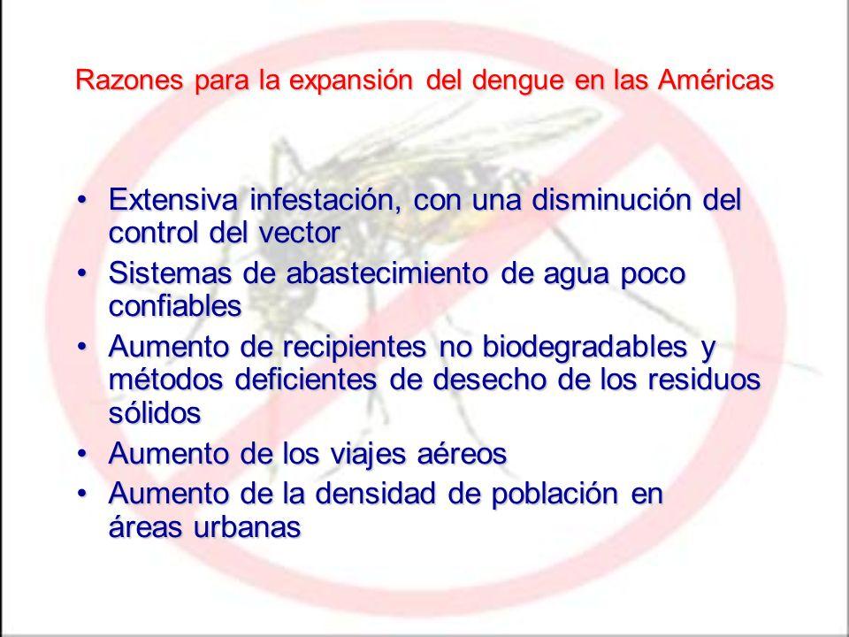 Razones para la expansión del dengue en las Américas Extensiva infestación, con una disminución del control del vectorExtensiva infestación, con una d