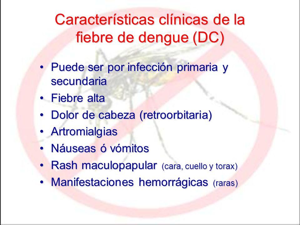 Características clínicas de la fiebre de dengue (DC) Puede ser por infección primaria y secundariaPuede ser por infección primaria y secundaria Fiebre