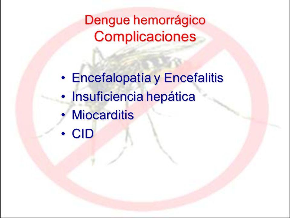 Dengue hemorrágico Complicaciones Encefalopatía y EncefalitisEncefalopatía y Encefalitis Insuficiencia hepáticaInsuficiencia hepática MiocarditisMioca