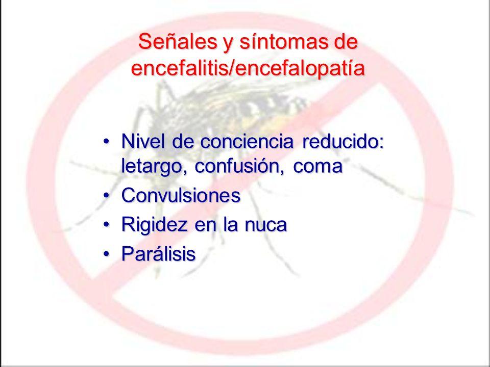 Señales y síntomas de encefalitis/encefalopatía Nivel de conciencia reducido: letargo, confusión, comaNivel de conciencia reducido: letargo, confusión
