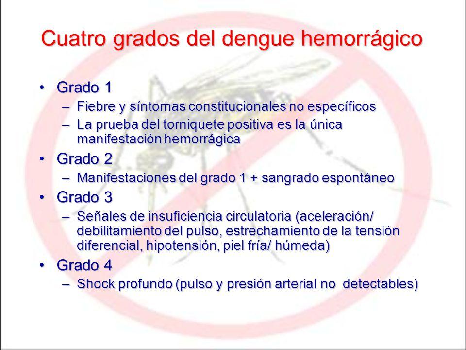 Cuatro grados del dengue hemorrágico Grado 1Grado 1 –Fiebre y síntomas constitucionales no específicos –La prueba del torniquete positiva es la única