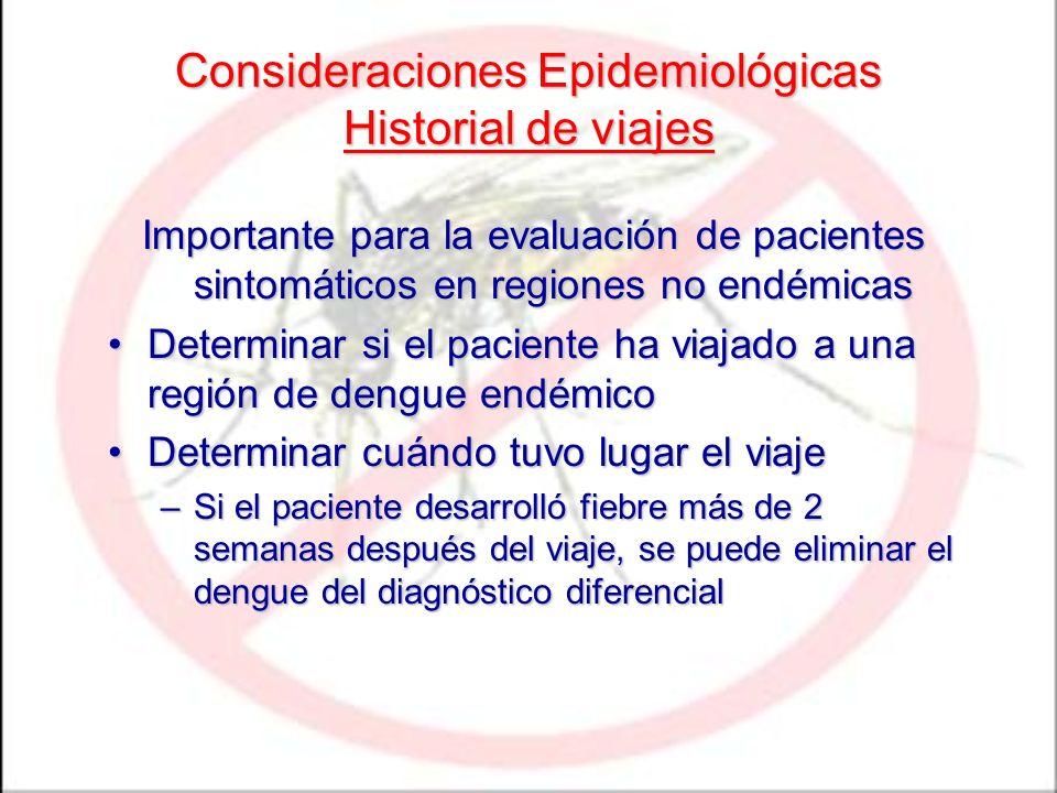 Consideraciones Epidemiológicas Historial de viajes Importante para la evaluación de pacientes sintomáticos en regiones no endémicas Determinar si el