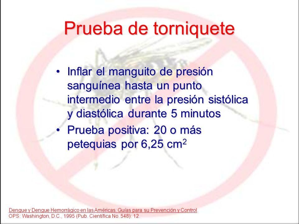 Prueba de torniquete Inflar el manguito de presión sanguínea hasta un punto intermedio entre la presión sistólica y diastólica durante 5 minutosInflar