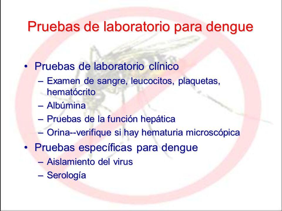 Pruebas de laboratorio para dengue Pruebas de laboratorio clínicoPruebas de laboratorio clínico –Examen de sangre, leucocitos, plaquetas, hematócrito