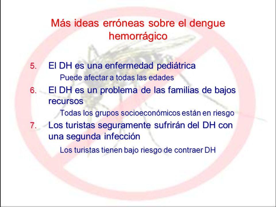 Más ideas erróneas sobre el dengue hemorrágico 5. El DH es una enfermedad pediátrica Puede afectar a todas las edades 6. El DH es un problema de las f