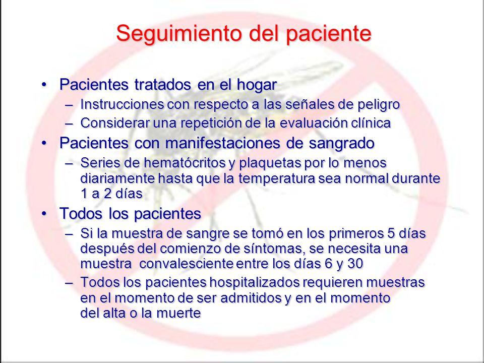 Seguimiento del paciente Pacientes tratados en el hogarPacientes tratados en el hogar –Instrucciones con respecto a las señales de peligro –Considerar