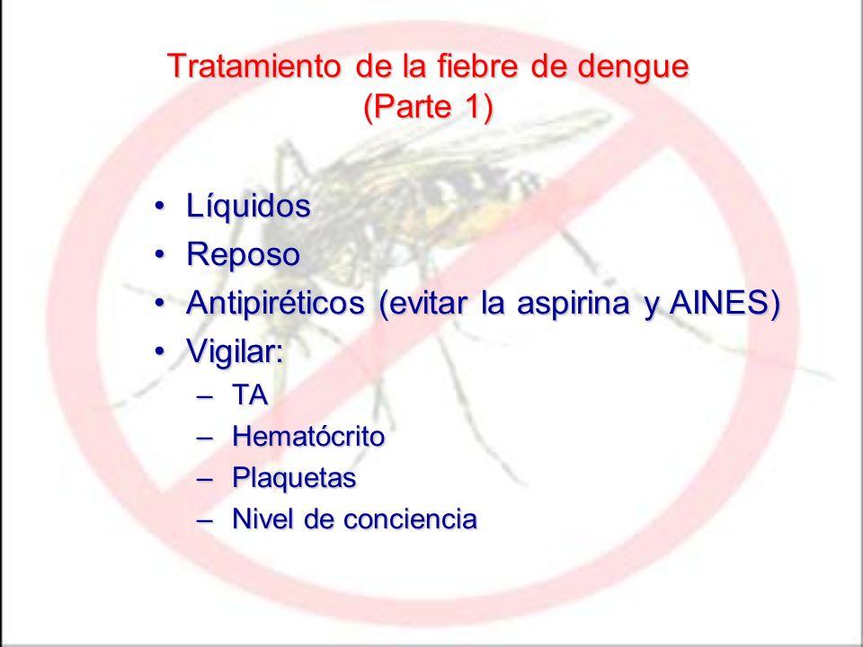 Tratamiento de la fiebre de dengue (Parte 1) LíquidosLíquidos ReposoReposo Antipiréticos (evitar la aspirina y AINES)Antipiréticos (evitar la aspirina