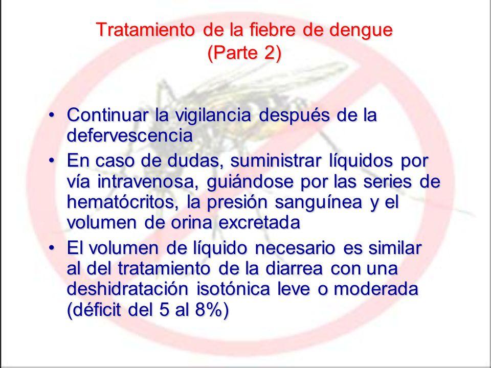 Tratamiento de la fiebre de dengue (Parte 2) Continuar la vigilancia después de la defervescenciaContinuar la vigilancia después de la defervescencia