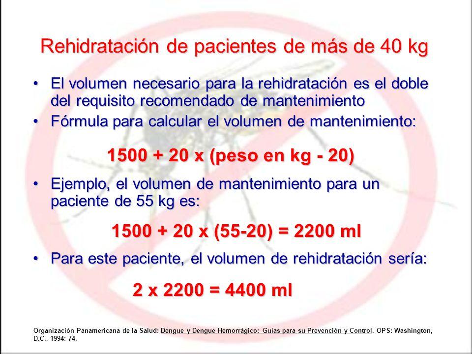 Rehidratación de pacientes de más de 40 kg El volumen necesario para la rehidratación es el doble del requisito recomendado de mantenimientoEl volumen