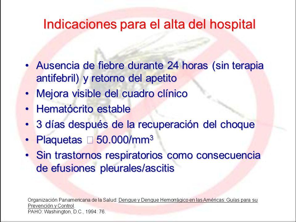Indicaciones para el alta del hospital Ausencia de fiebre durante 24 horas (sin terapia antifebril) y retorno del apetitoAusencia de fiebre durante 24