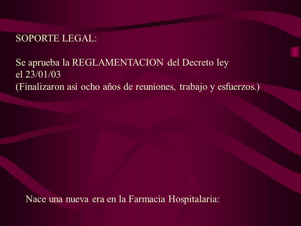 SOPORTE LEGAL: Se aprueba la REGLAMENTACION del Decreto ley el 23/01/03 (Finalizaron así ocho años de reuniones, trabajo y esfuerzos.) Nace una nueva