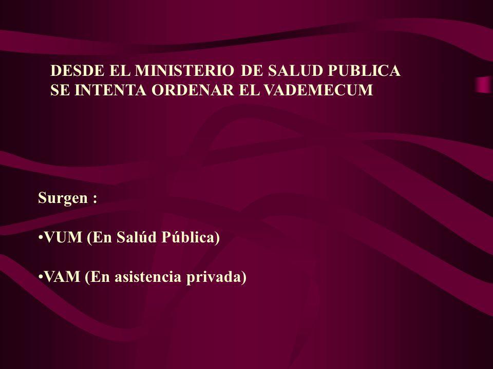 DESDE EL MINISTERIO DE SALUD PUBLICA SE INTENTA ORDENAR EL VADEMECUM Surgen : VUM (En Salúd Pública) VAM (En asistencia privada)