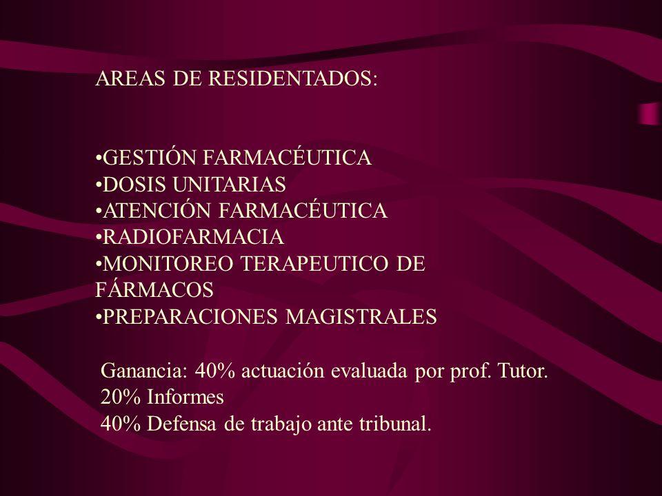 AREAS DE RESIDENTADOS: GESTIÓN FARMACÉUTICA DOSIS UNITARIAS ATENCIÓN FARMACÉUTICA RADIOFARMACIA MONITOREO TERAPEUTICO DE FÁRMACOS PREPARACIONES MAGIST