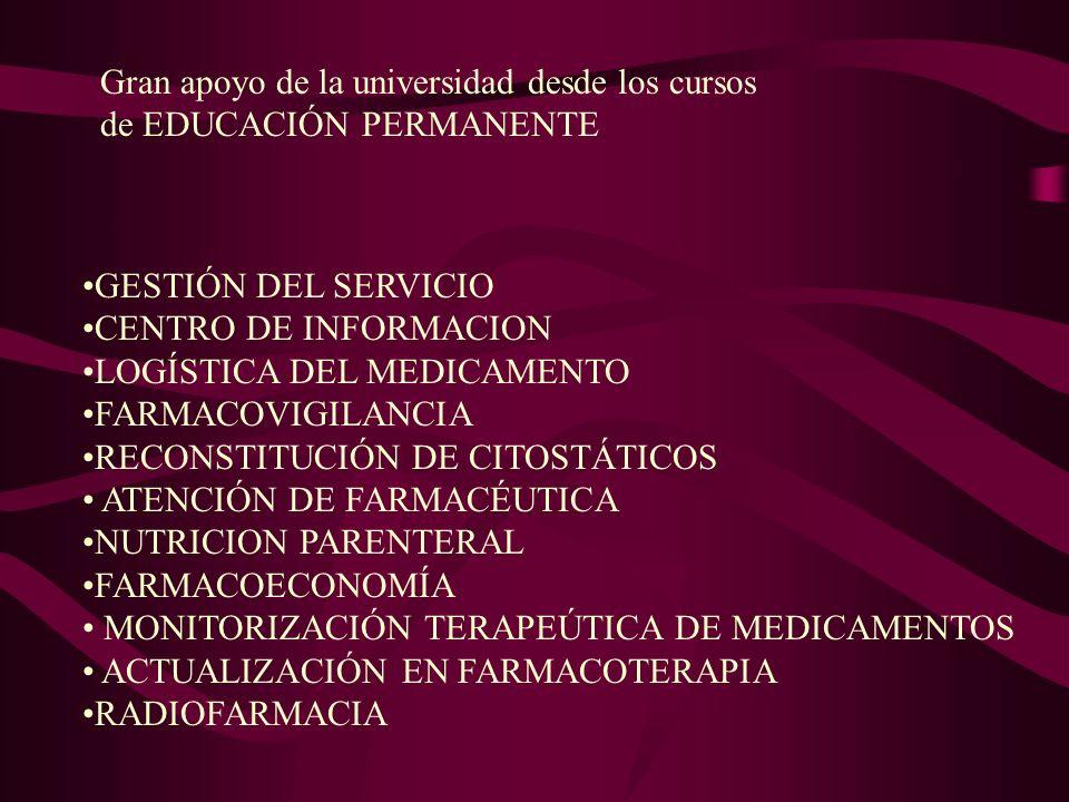 Gran apoyo de la universidad desde los cursos de EDUCACIÓN PERMANENTE GESTIÓN DEL SERVICIO CENTRO DE INFORMACION LOGÍSTICA DEL MEDICAMENTO FARMACOVIGI