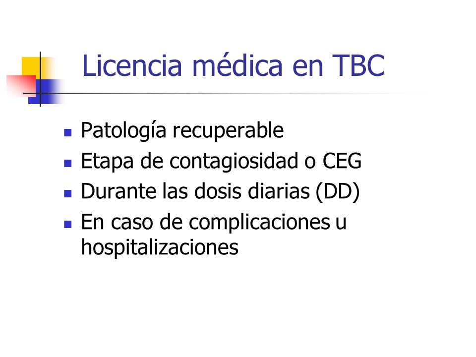 Licencia médica en TBC Patología recuperable Etapa de contagiosidad o CEG Durante las dosis diarias (DD) En caso de complicaciones u hospitalizaciones
