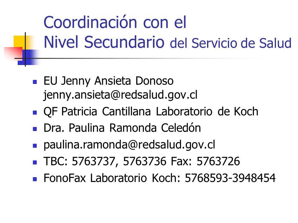 Coordinación con el Nivel Secundario del Servicio de Salud EU Jenny Ansieta Donoso jenny.ansieta@redsalud.gov.cl QF Patricia Cantillana Laboratorio de