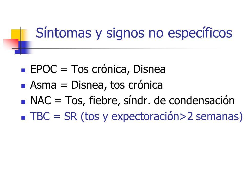 Síntomas y signos no específicos EPOC = Tos crónica, Disnea Asma = Disnea, tos crónica NAC = Tos, fiebre, síndr. de condensación TBC = SR (tos y expec