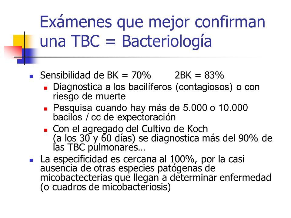 Exámenes que mejor confirman una TBC = Bacteriología Sensibilidad de BK = 70% 2BK = 83% Diagnostica a los bacilíferos (contagiosos) o con riesgo de mu