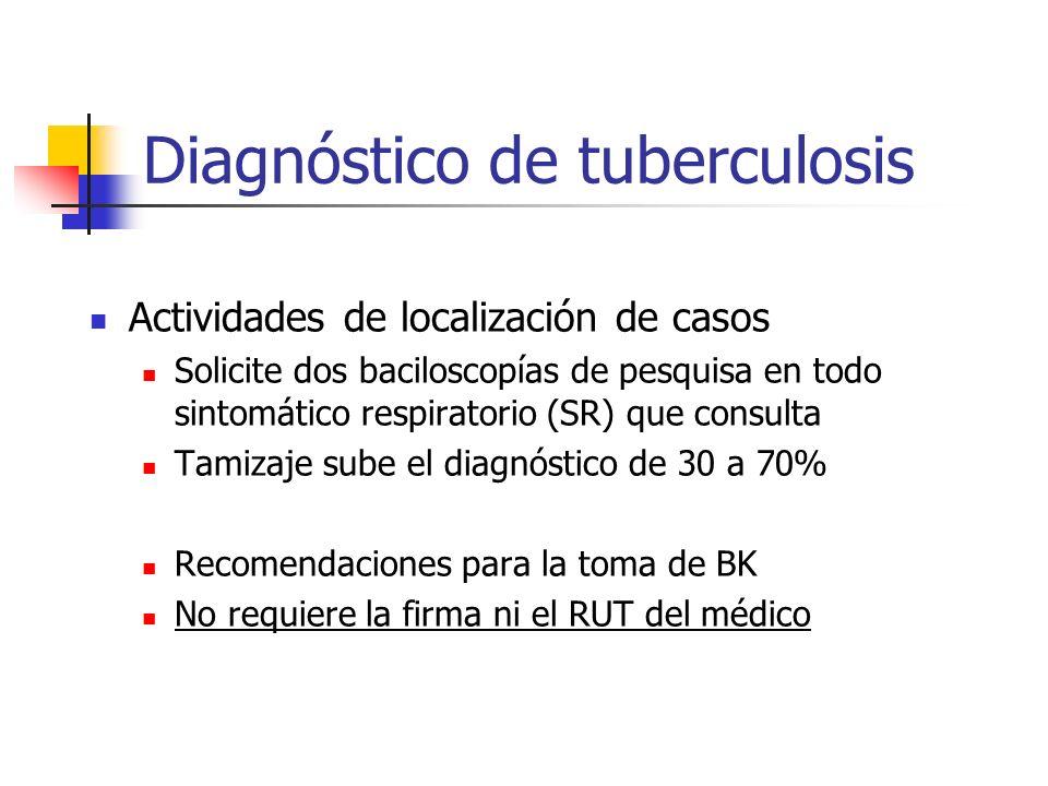 Diagnóstico de tuberculosis Actividades de localización de casos Solicite dos baciloscopías de pesquisa en todo sintomático respiratorio (SR) que cons
