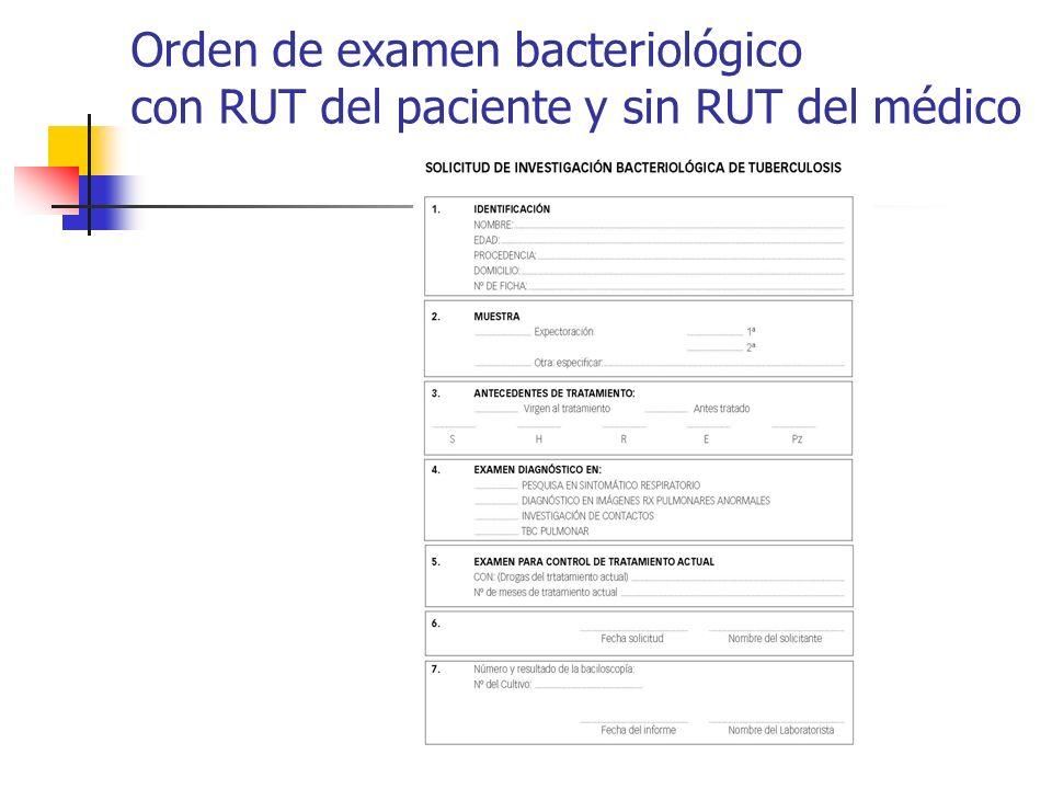 Orden de examen bacteriológico con RUT del paciente y sin RUT del médico