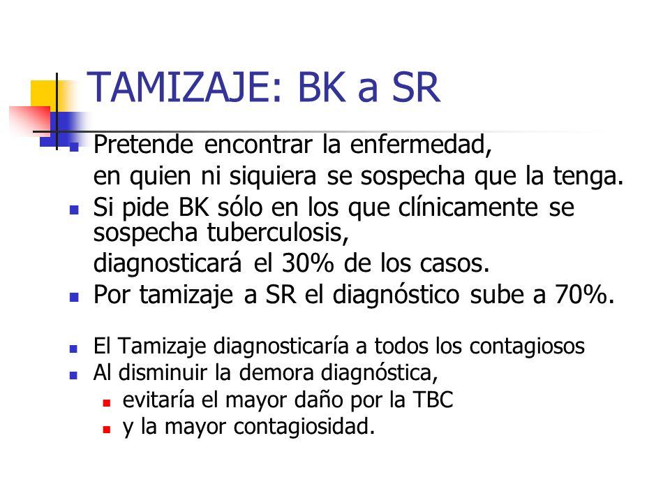 TAMIZAJE: BK a SR Pretende encontrar la enfermedad, en quien ni siquiera se sospecha que la tenga. Si pide BK sólo en los que clínicamente se sospecha