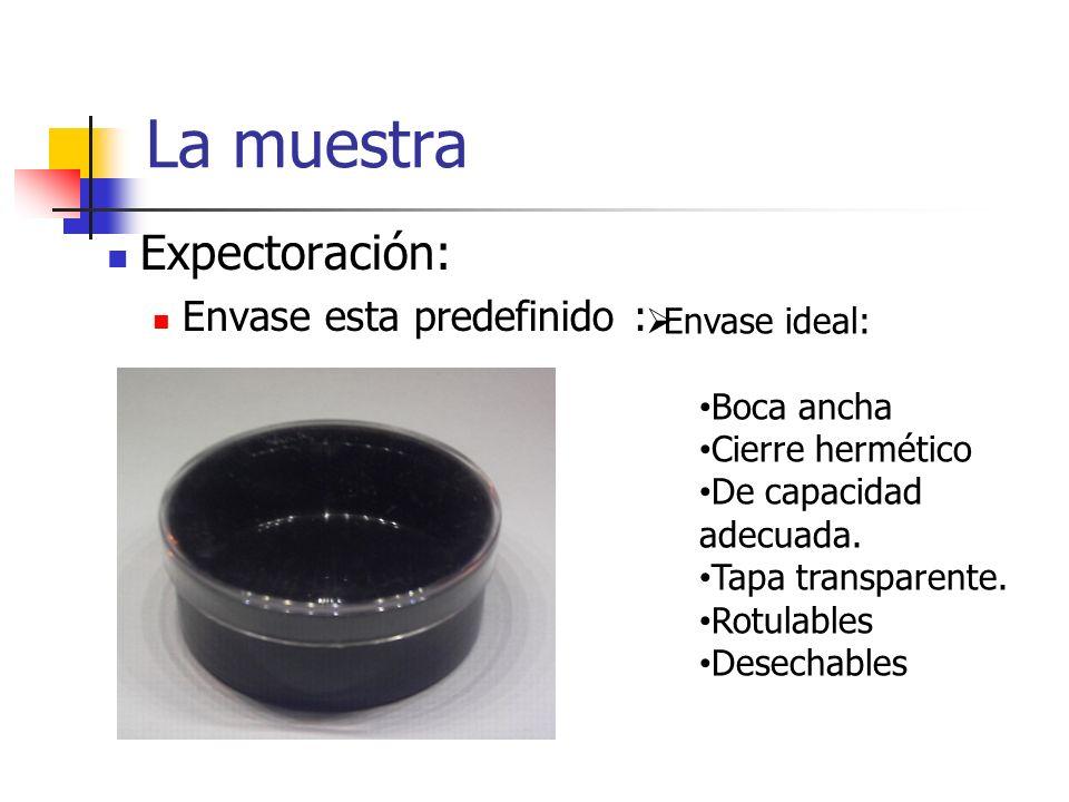 La muestra Expectoración: Envase esta predefinido : Envase ideal: Boca ancha Cierre hermético De capacidad adecuada. Tapa transparente. Rotulables Des