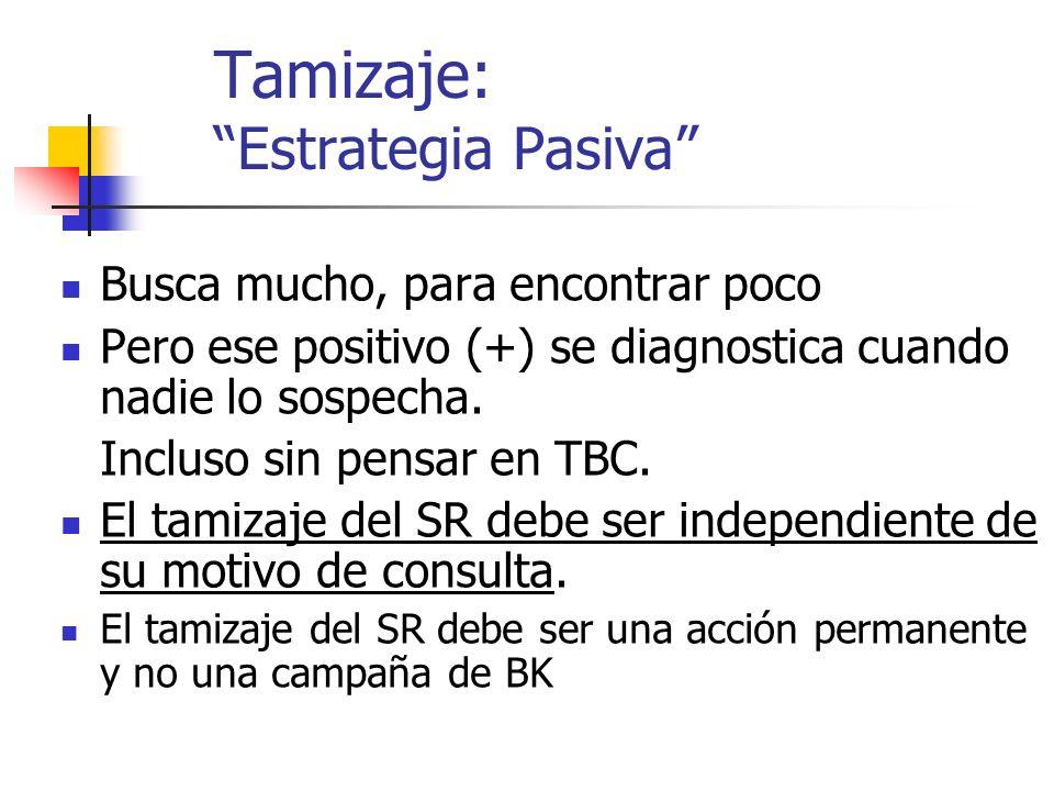 Tamizaje: Estrategia Pasiva Busca mucho, para encontrar poco Pero ese positivo (+) se diagnostica cuando nadie lo sospecha. Incluso sin pensar en TBC.