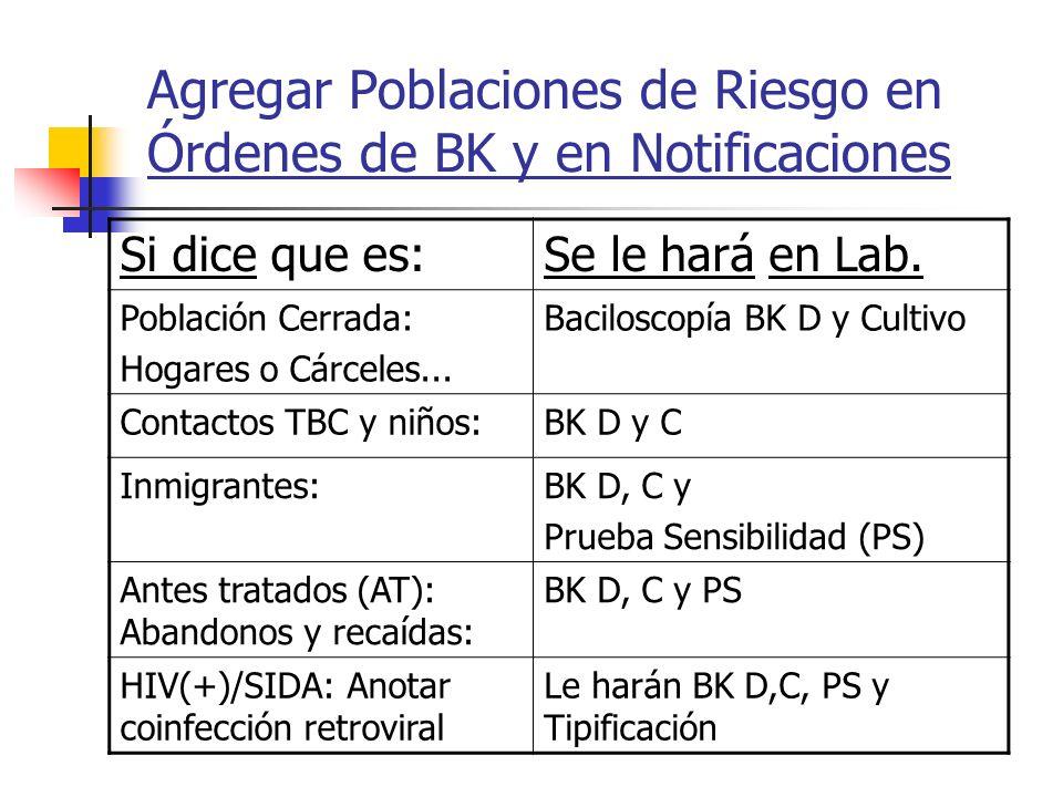 Agregar Poblaciones de Riesgo en Órdenes de BK y en Notificaciones Si dice que es:Se le hará en Lab. Población Cerrada: Hogares o Cárceles... Bacilosc