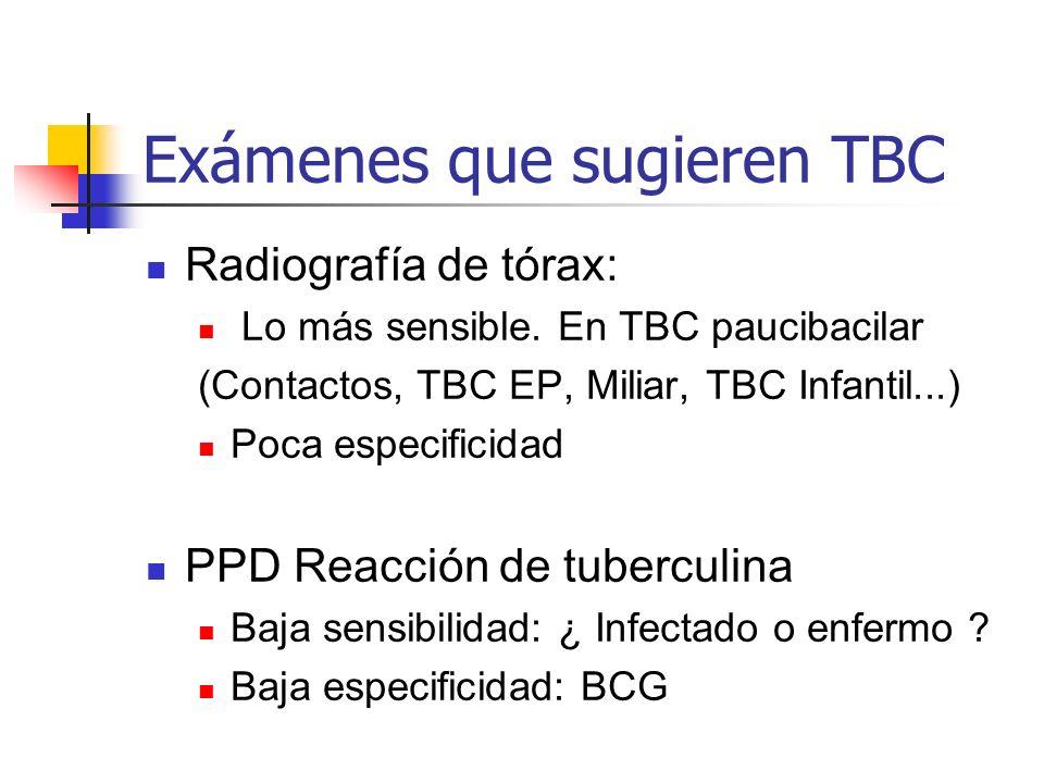 Exámenes que sugieren TBC Radiografía de tórax: Lo más sensible. En TBC paucibacilar (Contactos, TBC EP, Miliar, TBC Infantil...) Poca especificidad P