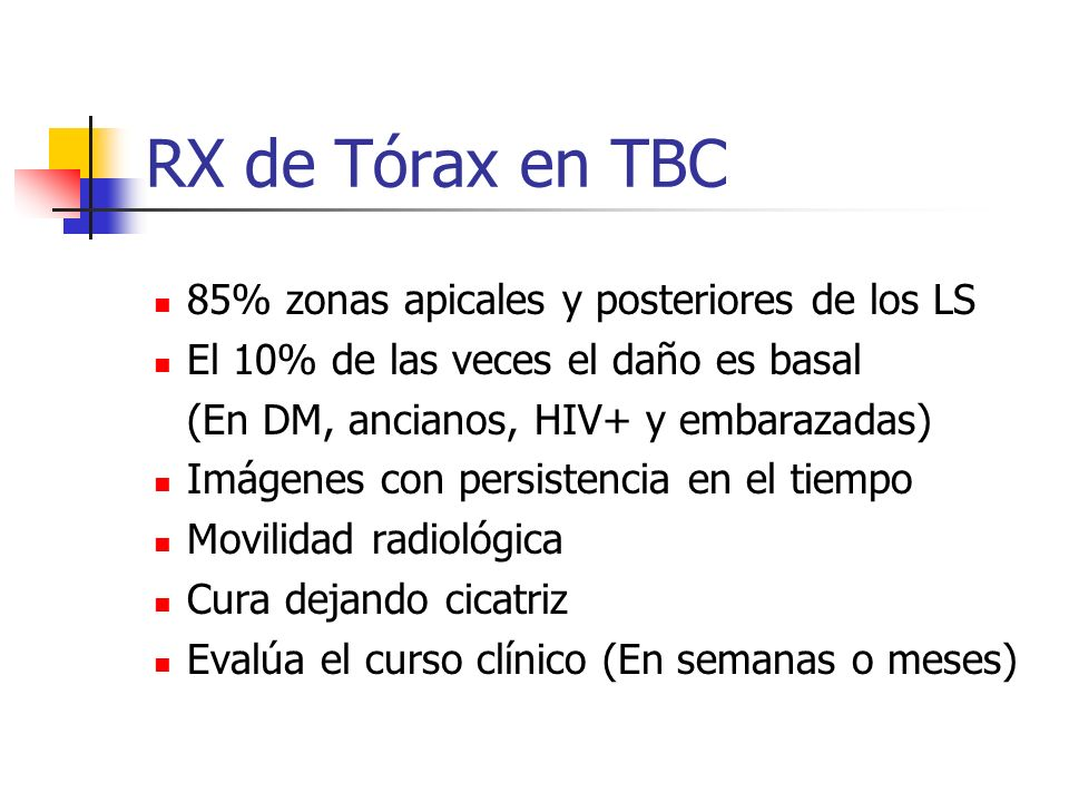 RX de Tórax en TBC 85% zonas apicales y posteriores de los LS El 10% de las veces el daño es basal (En DM, ancianos, HIV+ y embarazadas) Imágenes con
