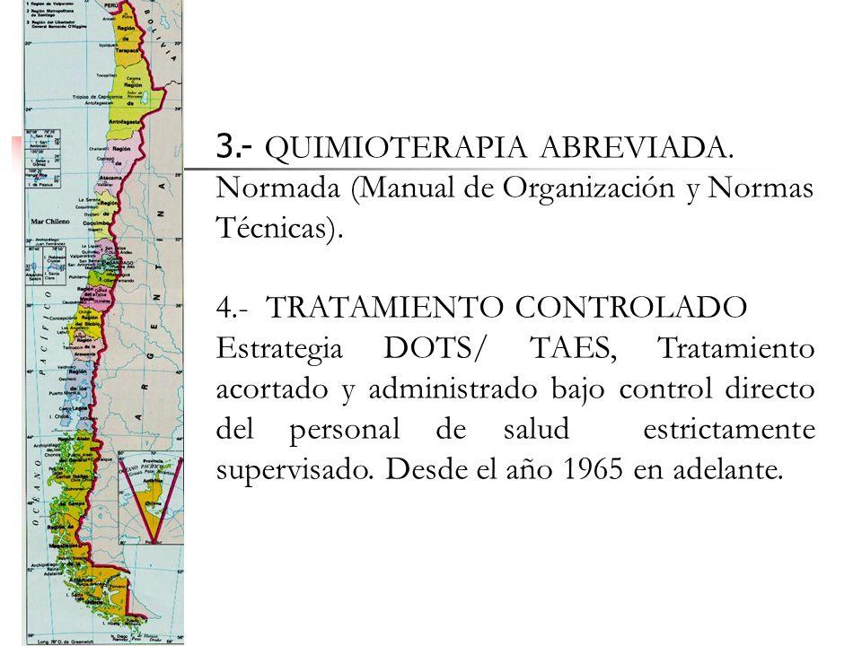 3.- QUIMIOTERAPIA ABREVIADA. Normada (Manual de Organización y Normas Técnicas). 4.- TRATAMIENTO CONTROLADO Estrategia DOTS/ TAES, Tratamiento acortad