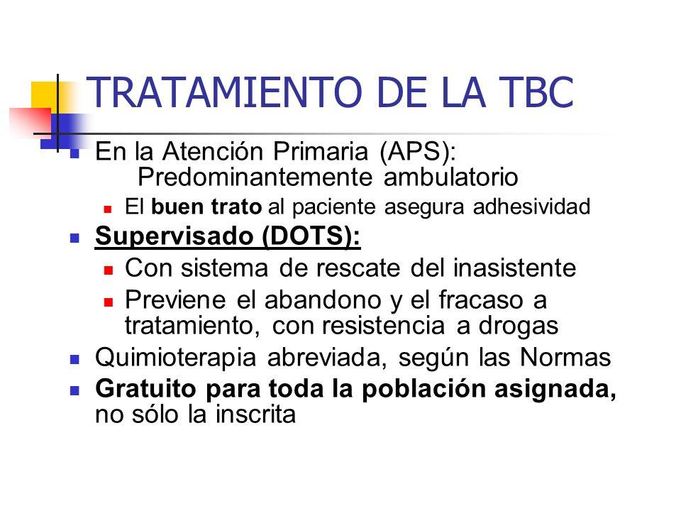 TRATAMIENTO DE LA TBC En la Atención Primaria (APS): Predominantemente ambulatorio El buen trato al paciente asegura adhesividad Supervisado (DOTS): C