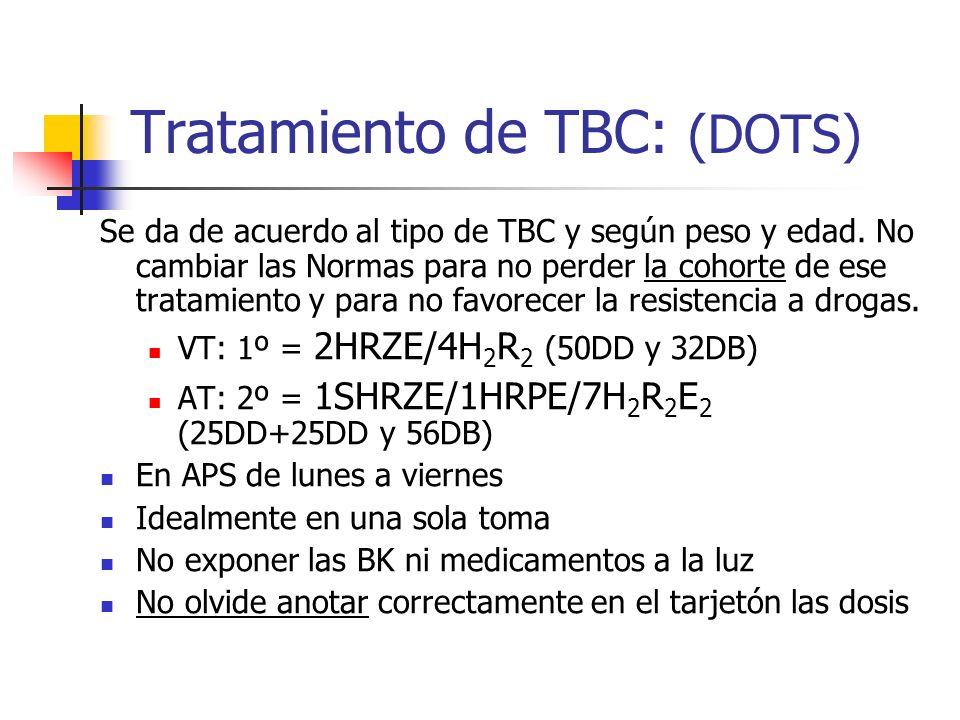 Tratamiento de TBC: (DOTS) Se da de acuerdo al tipo de TBC y según peso y edad. No cambiar las Normas para no perder la cohorte de ese tratamiento y p