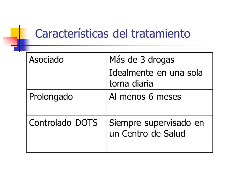 Características del tratamiento AsociadoMás de 3 drogas Idealmente en una sola toma diaria ProlongadoAl menos 6 meses Controlado DOTSSiempre supervisa