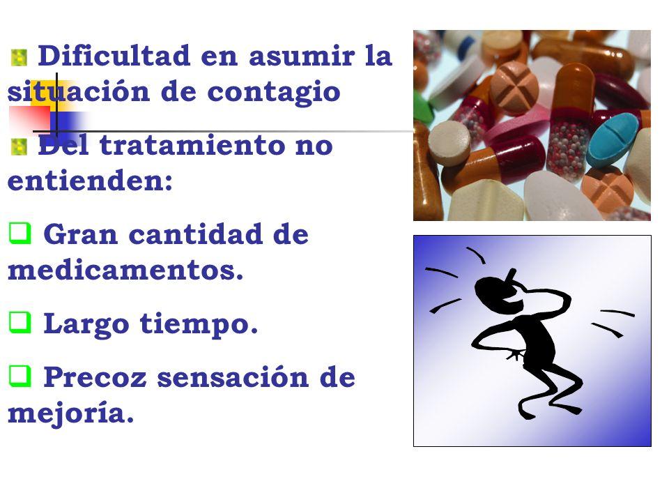 Dificultad en asumir la situación de contagio Del tratamiento no entienden: Gran cantidad de medicamentos. Largo tiempo. Precoz sensación de mejoría.
