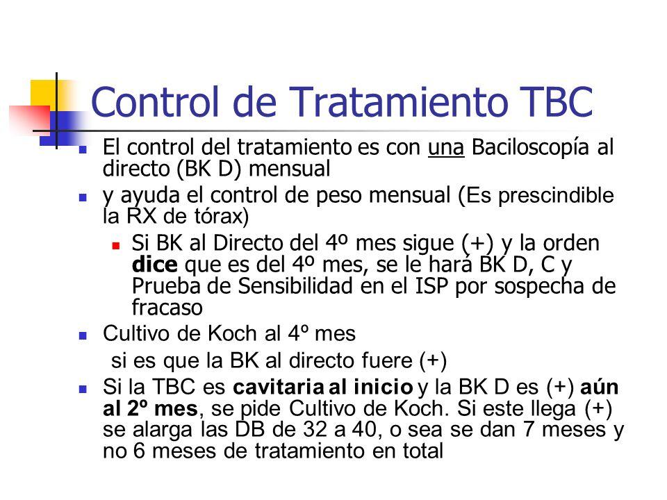 Control de Tratamiento TBC El control del tratamiento es con una Baciloscopía al directo (BK D) mensual y ayuda el control de peso mensual ( Es presci