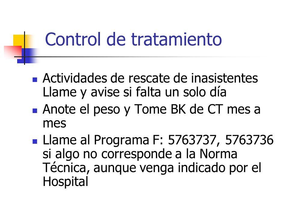 Control de tratamiento Actividades de rescate de inasistentes Llame y avise si falta un solo día Anote el peso y Tome BK de CT mes a mes Llame al Prog