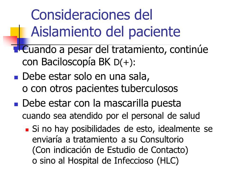Consideraciones del Aislamiento del paciente Cuando a pesar del tratamiento, continúe con Baciloscopía BK D(+): Debe estar solo en una sala, o con otr