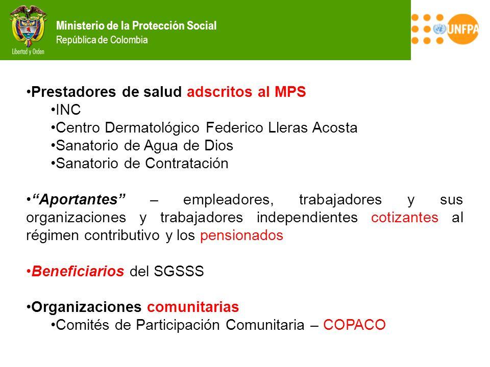Ministerio de la Protección Social República de Colombia Prestadores de salud adscritos al MPS INC Centro Dermatológico Federico Lleras Acosta Sanator