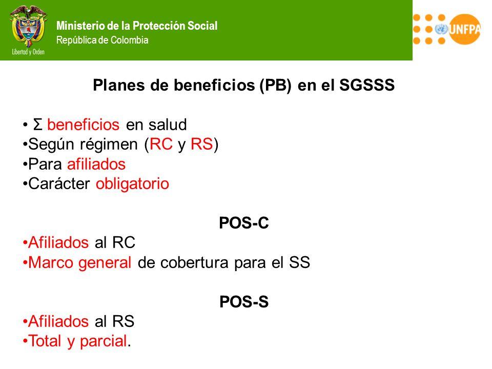 Ministerio de la Protección Social República de Colombia Planes de beneficios (PB) en el SGSSS Σ beneficios en salud Según régimen (RC y RS) Para afil