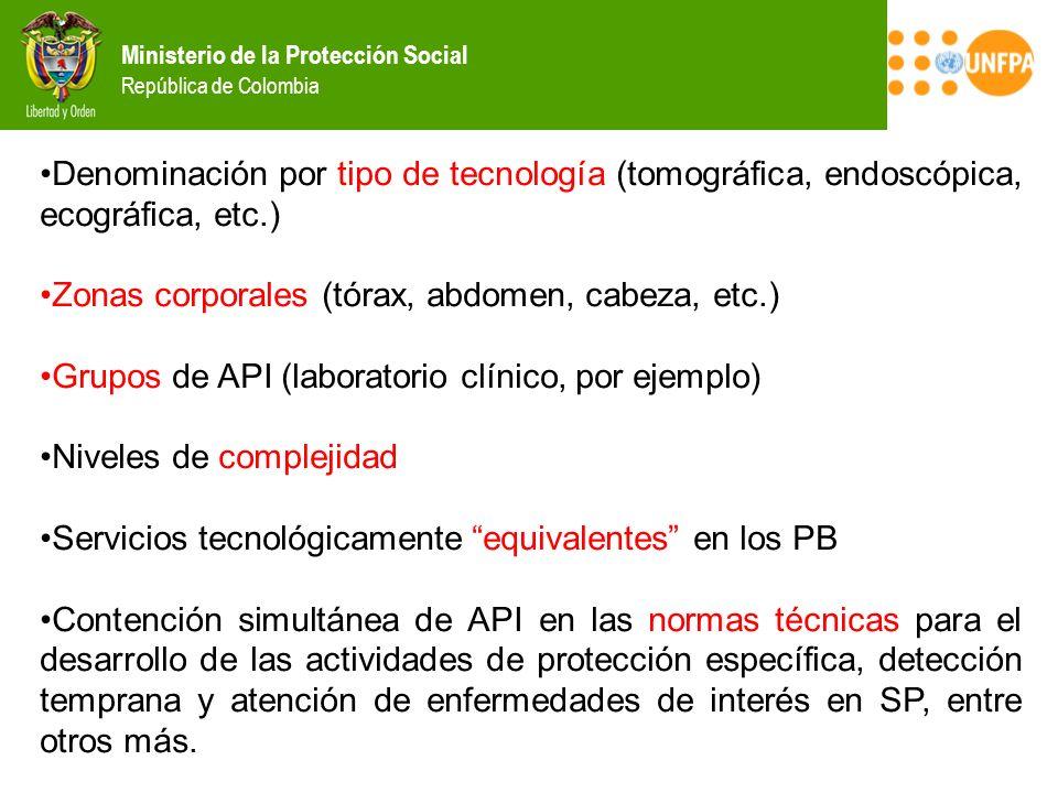 Ministerio de la Protección Social República de Colombia Denominación por tipo de tecnología (tomográfica, endoscópica, ecográfica, etc.) Zonas corpor