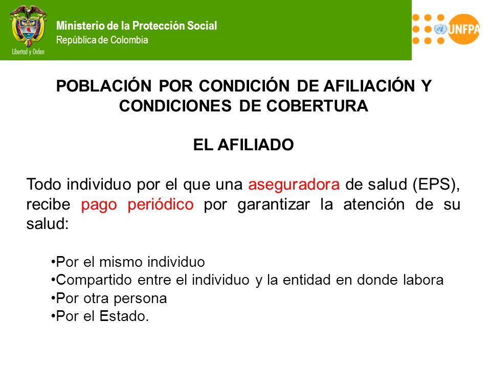 Ministerio de la Protección Social República de Colombia POBLACIÓN POR CONDICIÓN DE AFILIACIÓN Y CONDICIONES DE COBERTURA EL AFILIADO Todo individuo p