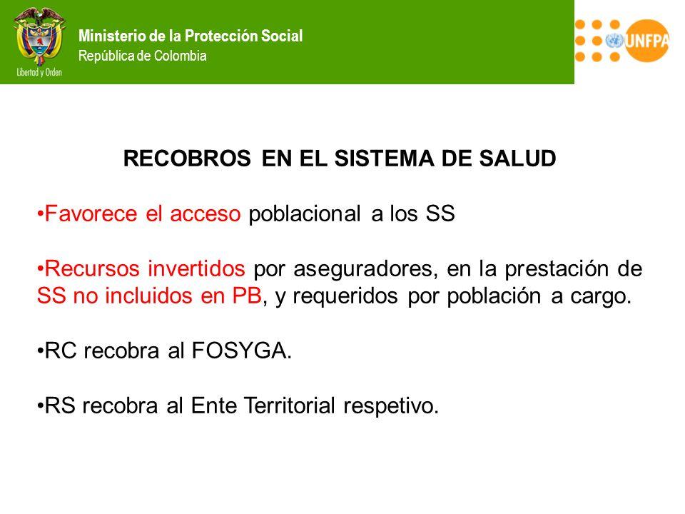 Ministerio de la Protección Social República de Colombia RECOBROS EN EL SISTEMA DE SALUD Favorece el acceso poblacional a los SS Recursos invertidos p