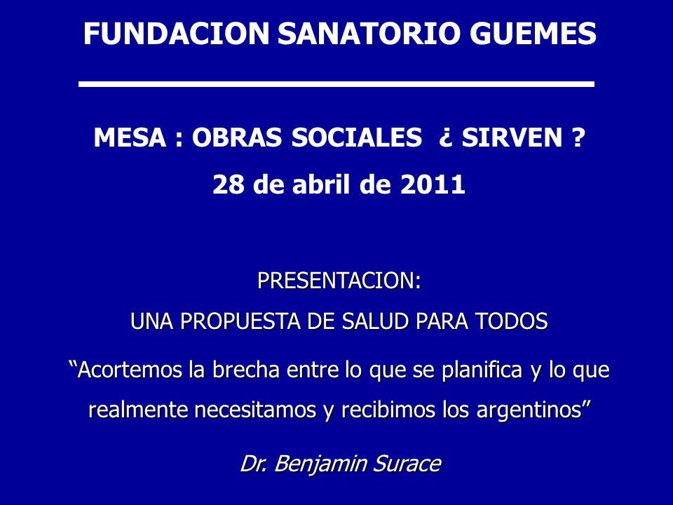 FUNDACION SANATORIO GUEMES MESA : OBRAS SOCIALES ¿ SIRVEN ? 28 de abril de 2011PRESENTACION: UNA PROPUESTA DE SALUD PARA TODOS Acortemos la brecha ent